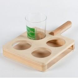 Raqueta madera cuatro vasos